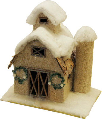 """12"""" Snow Covered Barn with Wreaths Christmas Tabletop Decoration"""""""