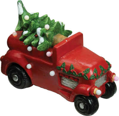 "18"" Christmas Morning Red LED Lighted Musical Truck with Tree Tabletop Figure"