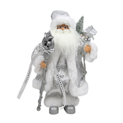 "12"" Elegant Standing Santa Claus Figure in Silverand White with Staff"""