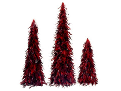 """Set of 3 Red and Black Feather Christmas Cone Trees 30"""""""