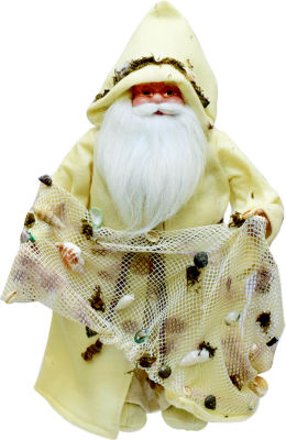 "16"" Nautical Inspired Santa Claus Holding a Net with Shells and Seaweed"""