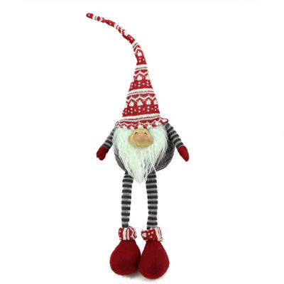 "24"" Gray and Red Portly Smiling Hanging Leg Gnome Christmas Decoration with Christmas Snow Cap"""