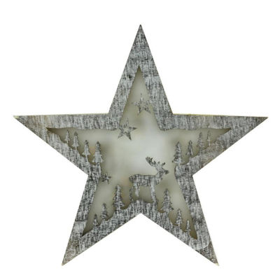 """10"""" Battery Operated LED Lighted Rustic Wooden Star Christmas Decoration - Deer"""""""