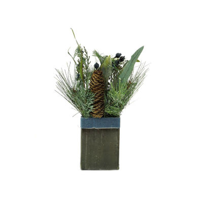 """13"""" Square Potted Frosted Blueberry and Pine Artificial Christmas Arrangement"""""""
