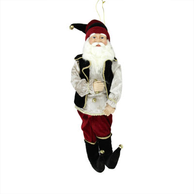"""22"""" Enchanted Black and Red Poseable Whimsical Christmas Elf Figure"""""""