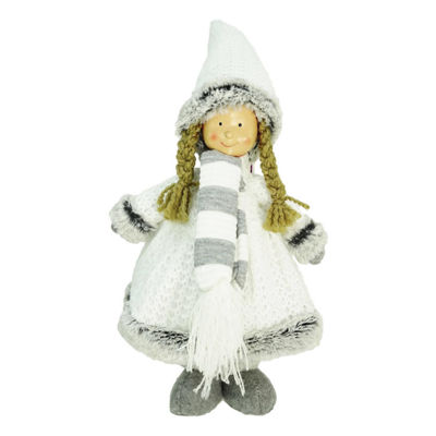 "13"" Decorative Gray and White Wintry Girl Christmas Table Top Figure"""
