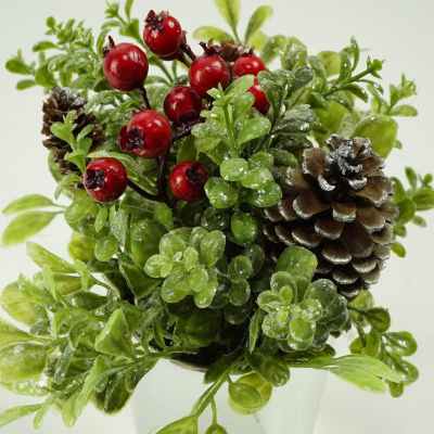 "8"" Silver Potted Artificial Boxwood and Berries Decorative Christmas Arrangement"""