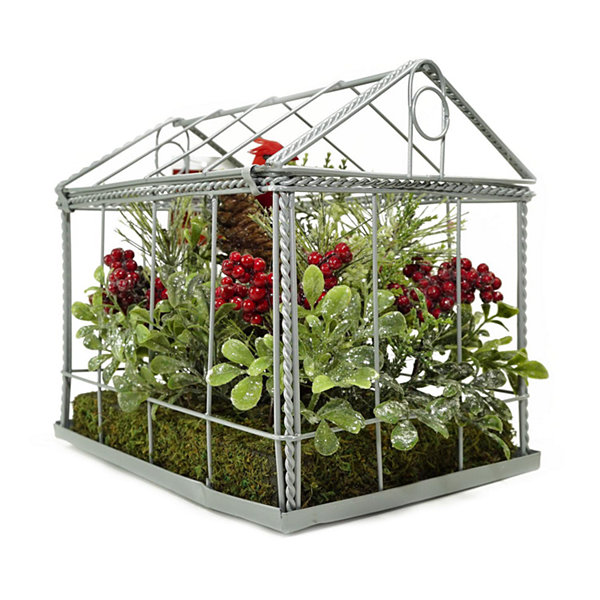 "9"" Red Cardinal Boxwood and Berry Artificial Christmas Greenhouse Arrangement"""