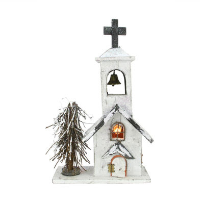 """17"""" Lighted Snowy White Glitter Wooden Church Christmas Table Top Decoration"""