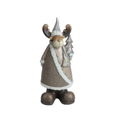 "15.75"" Textured Eco-Friendly Reindeer with Silver Christmas Tree Tabletop Figure"