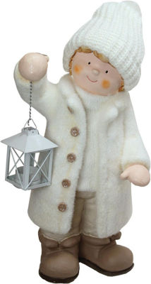 """17.25"""" Winter Boy in White Holding a Tealight Lantern Christmas Table Top Figure"""""""