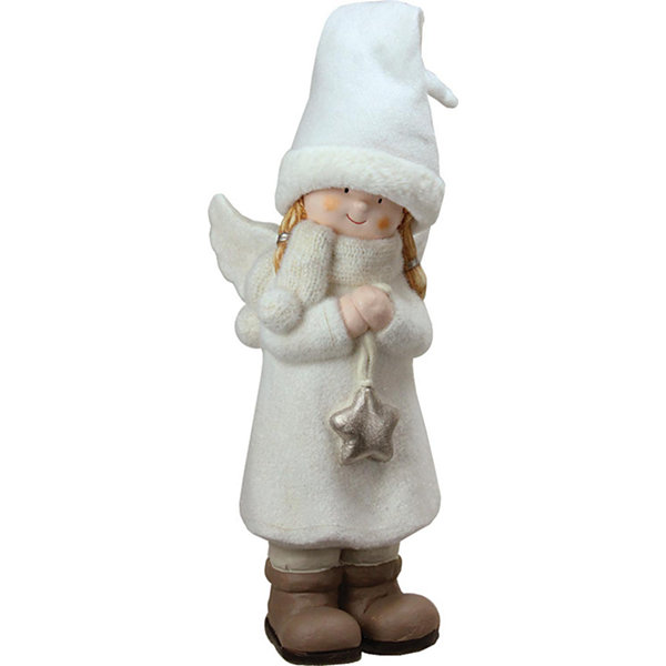 "19.75"" Decorative White Winter Girl Angel with Star Christmas Table Top Figure"""