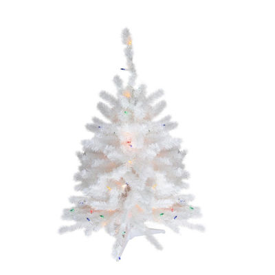 "18"" x 11"" Pre-Lit Snow White Artificial Christmas Tree - Multi-Color Lights"""