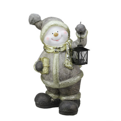"19"" Gold Metallic Snowman with Lantern Christmas Table Top Decoration"""