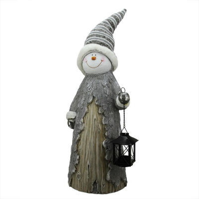 """26"""" Country Rustic Snowman with Lantern Christmas Table Top Decoration"""""""