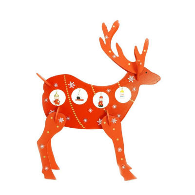 """13"""" Decorative Red Wooden Reindeer Cut-Out Christmas Table Top Decoration"""""""
