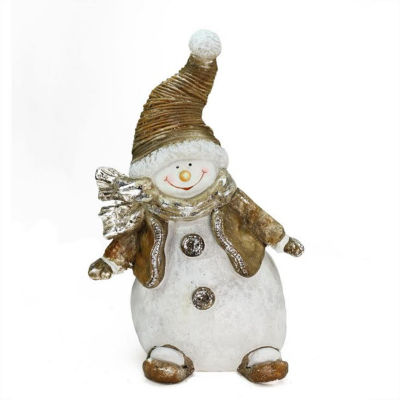 """17"""" Whimsical Snowshoeing Ceramic Christmas Snowman Decorative Tabletop Figure"""""""