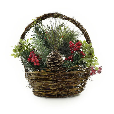 "12"" Red Cardinal with Berries and Foliage in Twig Basket Christmas Decoration"