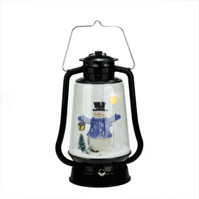 """13.5"""" Black Lighted Musical Snowman Snowing Christmas Table Top Lantern"""""""