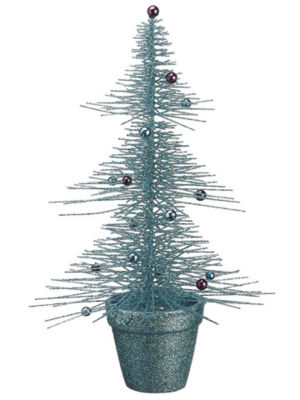 """16"""" Whimsical Turquoise Glittered Spike Table Tree"""""""