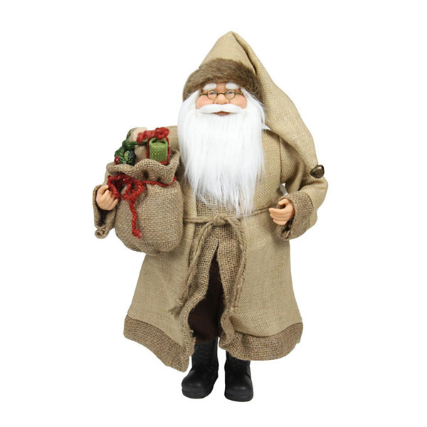 "18.25"" Rustic Lodge Santa Claus with Bag of Presents Christmas Decoration"