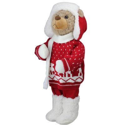 "20"" Retro Christmas Boy Brown Winter Bear in Deer Sweater Christmas Figure Decoration"""