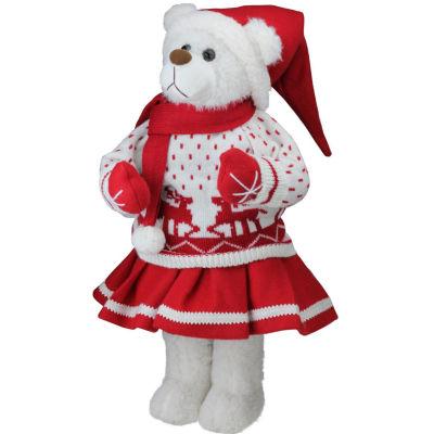 "20"" Retro Christmas Girl Santa Bear in Deer Sweater Christmas Figure Decoration"""