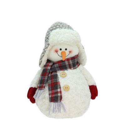 "13"" Friendly Snowman with Trapper Hat Christmas Tabletop Decoration"