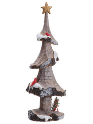 "18"" Rustic Lodge Country Tree with Star and Birds Christmas Table Top Decor"""