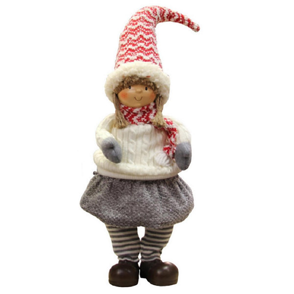 "24"" Red  Gray  and Ivory Young Girl Gnome Christmas Tabletop Decoration"""