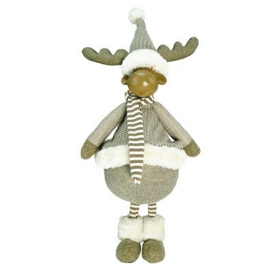 "24.75"" Decorative Standing Beige Moose Christmas Table Top Figure"""
