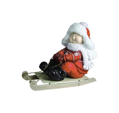 "16"" Christmas Morning Boy on a Sled Red and White Christmas Tabletop Figure"""