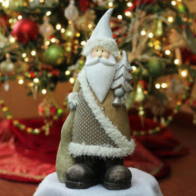 "18.50"" Brown Textured Eco-Friendly Santa with Tree Christmas Table top Figure"""