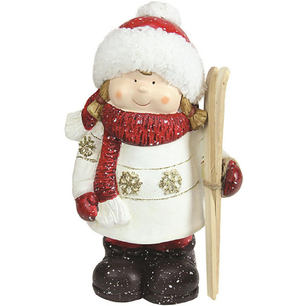 "11"" Christmas Morning Red & White Terracotta Girlwith Skis Decorative Christmas Tabletop Figure"""