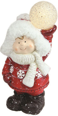 "10"" Christmas Morning LED Lighted Terracotta Boy Holding Snowball Decorative Christmas Figure"""