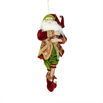 """18"""" Enchanted Red  Gold and Green Poseable Whimsical Christmas Elf Figure"""""""