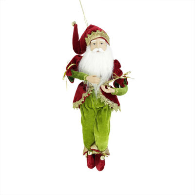 """18"""" Enchanted Red  Gold and Green Poseable Whimsical Christmas Elf King Figure"""""""