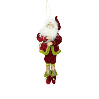 """18"""" Enchanted Red  Gold and Green Poseable Whimsical Christmas Elf Monarch Figure"""""""