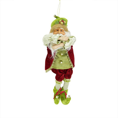 "18"" Enchanted Red and Green Poseable Whimsical Christmas Elf Figure"""