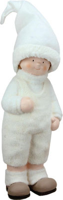 """19"""" Winter Girl in White with Tall Hat Christmas Table Top Figure"""""""