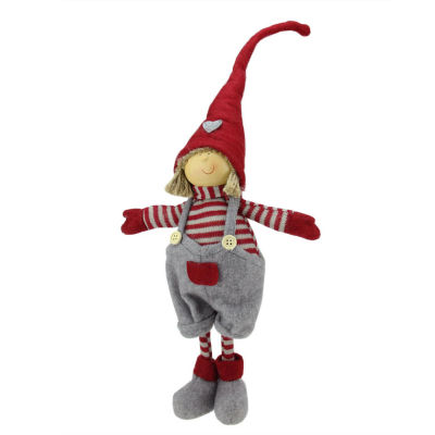 """18.25"""" Cheerful Standing Young Boy Gnome in Gray Overalls and Heart Winter Hat Christmas Decoration"""