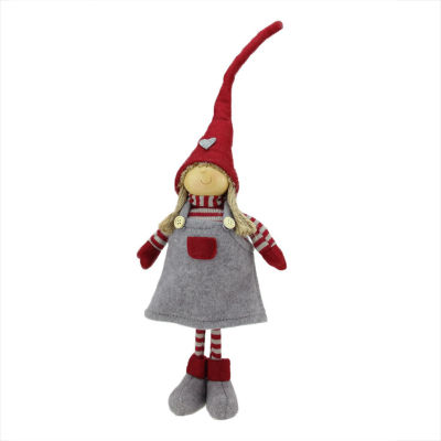 "18.25"" Cheerful Standing Young Girl Gnome in Gray Dress and Heart Winter Hat Christmas Decoration"""