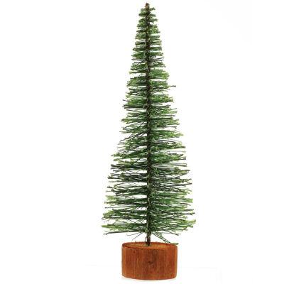"9"" Green Bottle Brush Artificial Mini Pine Christmas Tree"""