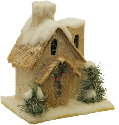 "9.25"" Snow Covered House with Shrubs Christmas Tabletop Decoration"""