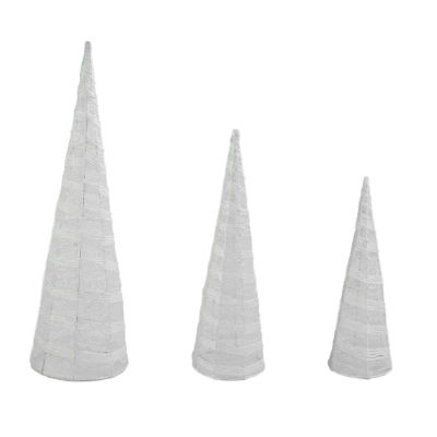 Set of 3 White and Silver Glittered Cone Tree Christmas Table Top Decoration 23.5""
