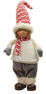 "16"" Cheerful Young Boy Gnome in Ivory Cable Knit Sweater Christmas Decoration"