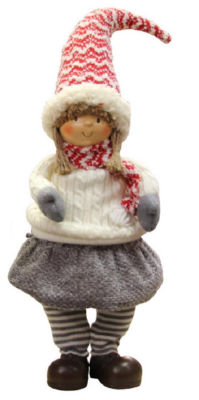 "16"" Jovial Young Girl Gnome in Ivory Cable Knit Sweater Christmas Decoration"""