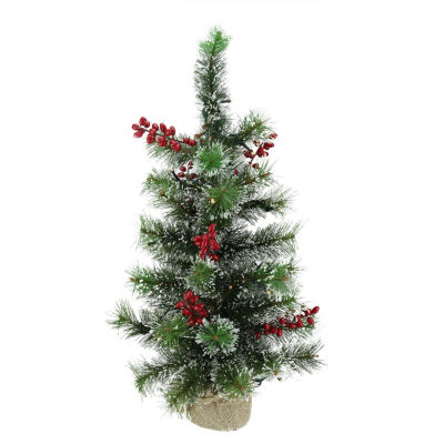 "25"" Pre-Lit Frosted Pine Battery Operated Artificial Christmas Tree - Warm Clear LED Lights"""