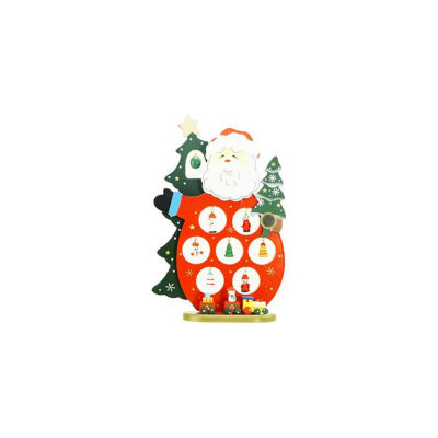 """10.25"""" Wooden Santa Claus Cut-Out with Miniature Ornaments Christmas Table Top Decoration"""""""