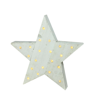 "15.5"" Luxury Lodge B/O LED Lighted Country Rustic White Wooden Star Christmas Decoration"